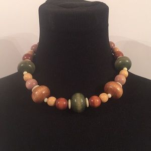 Vintage Polished Wood Bead Necklace